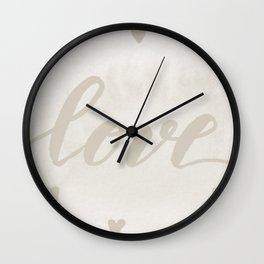 Valentine's Day Watercolor Love – white Wall Clock