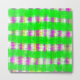 plaid pattern abstract texture in green pink white Metal Print
