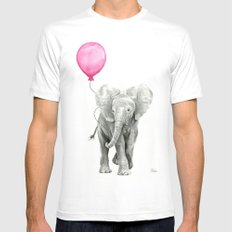 Elephant Watercolor Pink Balloon Whimsical Baby Animal Nursery Girl Art White Mens Fitted Tee MEDIUM