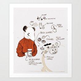 AUTUMN ICONS - colour Art Print