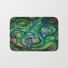 The Blues Cycle Watercolor Painting Bath Mat
