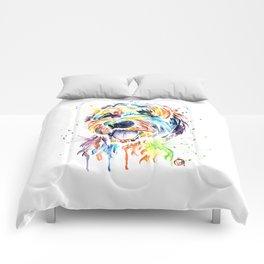 Goldendoodle, Golden Doodle Watercolor Pet Portrait Painting Comforters