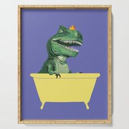 Playful T-Rex in Bathtub in Purple Serving Tray