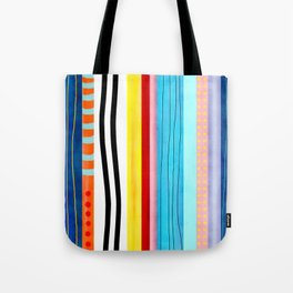 Vertical handmade lines Marine blue, striped black and white Tote Bag