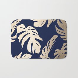 Simply Palm Leaves in White Gold Sands on Nautical Navy Bath Mat