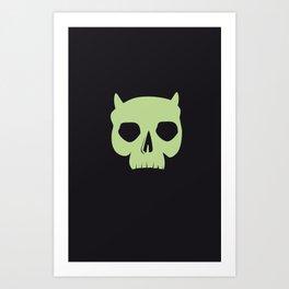 GREEN DEMON SKULL Art Print