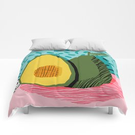 Choice - wacka memphis throwback retro neon fruit avocado vegetable vegan vegetarian art decor Comforters