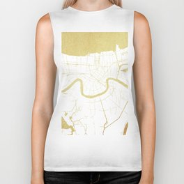 New Orleans White and Gold Map Biker Tank