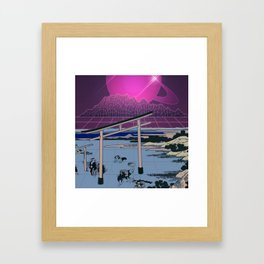 Synthwave Space: Views of mount Fuji #2 Framed Art Print