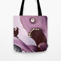 kraken Tote Bags featuring Kraken by Jacques Marcotte