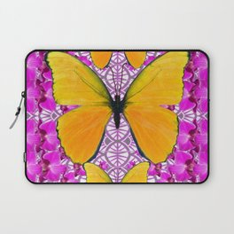 FUCHSIA COLORED  ORCHIDS &  YELLOW  BUTTERFLY FLORAL Laptop Sleeve