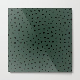 Cheetah Spots animal print minimal wild cat speckles and dots Forest Green Metal Print