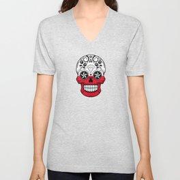 Sugar Skull with Roses and Flag of Poland Unisex V-Neck