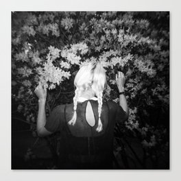 Truly Madly Deeply Holga double exposure of girl with flowers Canvas Print