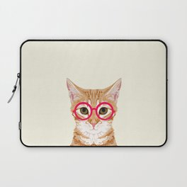 Ginger - Cute cat with glasses hipster cat art for dorm college decor funny cat lady meme Laptop Sleeve