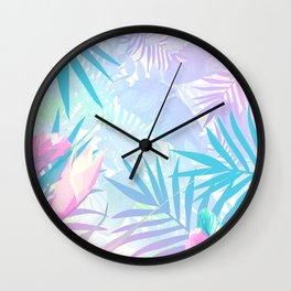 Pastel Rainbow Tropical Paradise Design Wall Clock