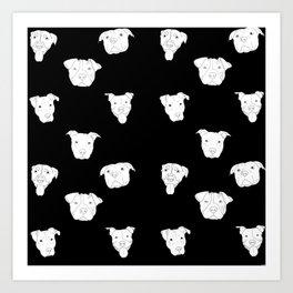 Black pit bull love Art Print