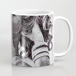'Tu es le seul et unique,' female form sketch still life portrait Coffee Mug