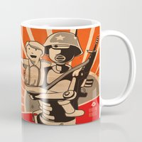 propaganda Mugs featuring Propaganda Series by Alex.Raveland...robot.design.digital.art