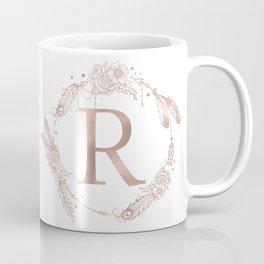 Letter R Rose Gold Pink Initial Monogram Coffee Mug