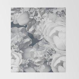Elegant Peony Bouquet Gray Monochrome #decor #society6 #buyart Throw Blanket