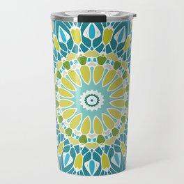 Beach Blue and Lime Green Mandala Travel Mug