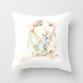 Mouse with teddy bear Throw Pillow