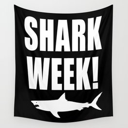 Shark Week, white text on black Wall Tapestry
