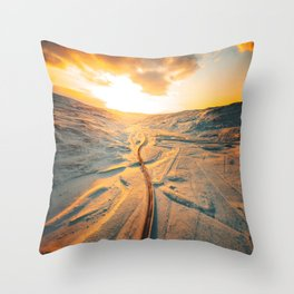 iceland road aerial view Throw Pillow