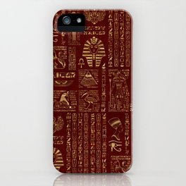 Egyptian hieroglyphs and symbols gold on red leather iPhone Case