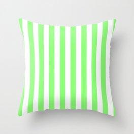 Vertical Stripes (Light Green & White Pattern) Throw Pillow