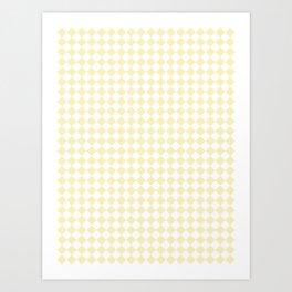 Small Diamonds - White and Blond Yellow Art Print