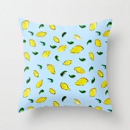 Watercolor Lemons Blue #homedecor #spring #watercolor Throw Pillow