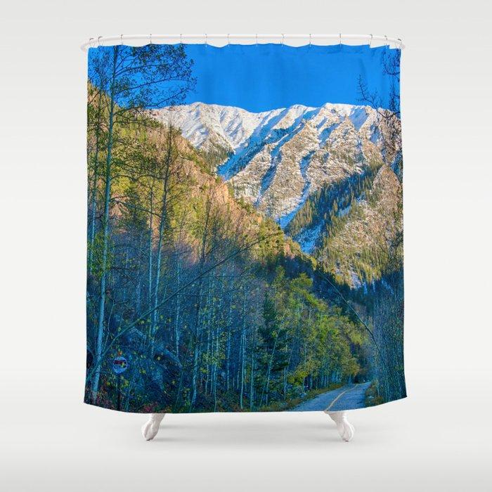 Mountain Path // Rocky Mountains Colorado Landscape Photography Amazing Shots at Sunrise Shower Curtain