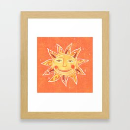Orange Smiling Sun Face Framed Art Print
