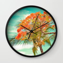 Summery Trees in Hawaii Wall Clock