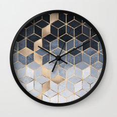 Soft Blue Gradient Cubes Wall Clock