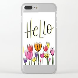 Hello Tulips Clear iPhone Case