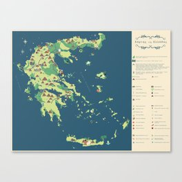 MAP OF GREECE Canvas Print
