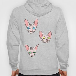 sphynx cats on striped (naked cats) Hoody