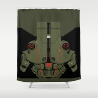 pacific rim Shower Curtains featuring Pacific Rim - Cherno Alpha - Minimal Poster by John Takacs