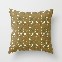 Petite Snowdrops and Pink Folk Flowers Cottagecore Vintage Floral Golden Background   Throw Pillow