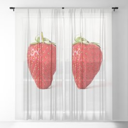 One Red Strawberry Sheer Curtain