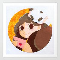 puppycat Art Prints featuring Bee & Puppycat by martinezmaca
