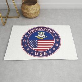 Connecticut, Connecticut t-shirt, Connecticut sticker, circle, Connecticut flag, white bg Rug