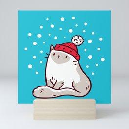 Cat Watching Snowfall Mini Art Print