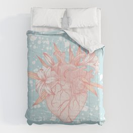 Anatomy heart and lily flowers on blue background Comforters