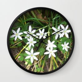Little White Flowers Wall Clock
