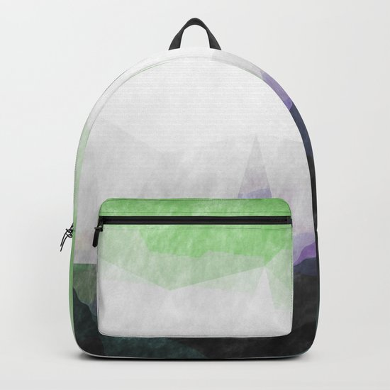 On the mountains- green watercolor - triangle pattern Backpack