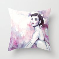 audrey hepburn Throw Pillows featuring Audrey Hepburn by Olechka